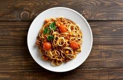 Spaghetti bolognese, top view Royalty Free Stock Photos