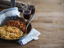 Spaghetti Bolognese. Traditional Italian Pasta Bolognese. Copy Space Stock Image