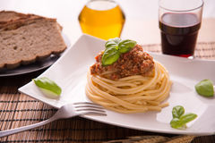 Spaghetti bolognese vegan. Italian spaghetti dressed with Bolognese vegan sauce Stock Photos