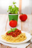 Spaghetti Bolognese on white plate Stock Photography