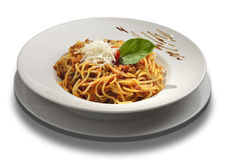 Spaghetti bolognese. On white plate royalty free stock image