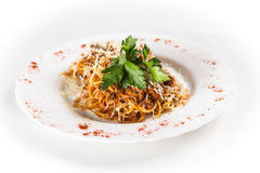 Spaghetti bolognese. On white plate Royalty Free Stock Photography