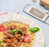 Spaghetti bolognese in white plate , close up Stock Images