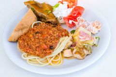 Spaghetti Bolognese on white plate Stock Image