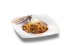 Spaghetti bolognese on white plate Stock Photos