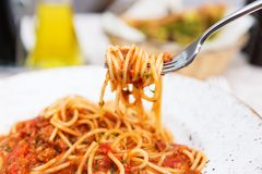 Spaghetti bolognese on a white plate Stock Images