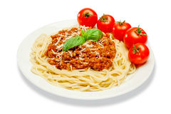 Spaghetti bolognese on a white plate. Traditional italian spaghetti bolognese on a white plate royalty free stock images