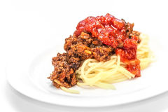 Spaghetti Bolognese on white Stock Images