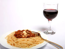 Spaghetti bolognese and wine horizontal Royalty Free Stock Images