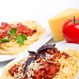 spaghetti bolonais deux de portions Images libres de droits