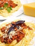 spaghetti bolonais deux de portions Image libre de droits