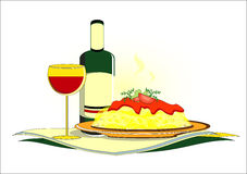 Spaghetti with bottle of wine on served table. Spaghetti with bottle of wine and glass on served table Stock Image