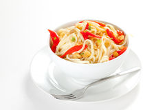 Spaghetti bowl with garlic and pepper Royalty Free Stock Images