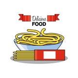 Spaghetti in bowl isolated icon. Vector illustration design stock illustration