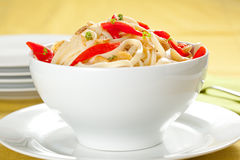 Spaghetti Bowl With Garlic And Pepper Stock Photo