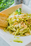 Spaghetti. With bread in white dish on the stone table Stock Photo