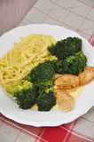 Spaghetti with broccoli and chicken Stock Photos