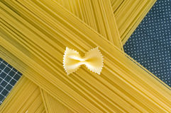 Spaghetti butterfly necktie. Spaghetti with butterfly necktie on top Stock Image