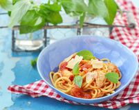 Spaghetti with calamary tomatoes and basil Royalty Free Stock Photography