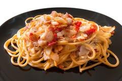 Spaghetti caldi e piccanti della pancetta affumicata Immagini Stock