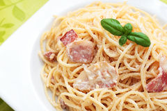 Spaghetti carbonara. - Royalty Free Stock Photo