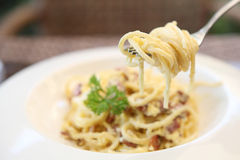 Spaghetti Carbonara. With bacon and cheese Royalty Free Stock Photography