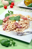 Spaghetti Carbonara Images libres de droits