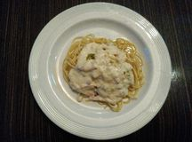 Spaghetti Carbonara Fotografie Stock Libere da Diritti