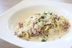 Spaghetti Carbonara with bacon and cheese Stock Photos