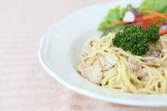 Spaghetti Carbonara with bacon and cheese Stock Image