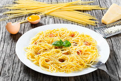 Spaghetti carbonara, basil, eggs yolk, grated parmesan cheese, b. Acon, close-up stock images