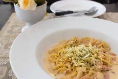 Spaghetti Carbonara on bowl Stock Photo
