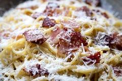 Spaghetti Carbonara Closeup. Spaghetti carbonara in closeup view Royalty Free Stock Images