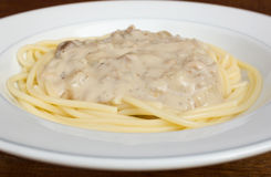 Spaghetti carbonara. Royalty Free Stock Images