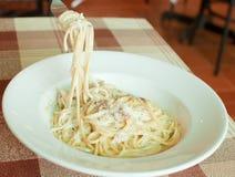 Spaghetti carbonara cream sauce Stock Photo
