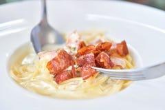 Spaghetti Carbonara with crispy bacon Royalty Free Stock Photo