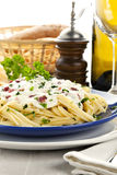 Spaghetti carbonara dish close up Stock Photography