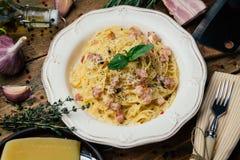 Spaghetti Carbonara E stock foto