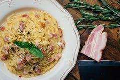 Spaghetti Carbonara E fotografia stock