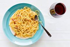 Italian spaghetti carbonara Royalty Free Stock Photo