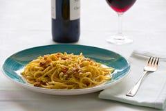 Italian spaghetti carbonara Royalty Free Stock Images