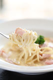 Spaghetti Carbonara with ham and cheese Royalty Free Stock Photography