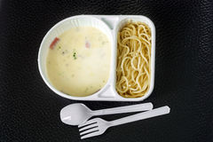Spaghetti carbonara with ham in the package Stock Photo