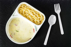 Spaghetti carbonara with ham in the package Stock Images