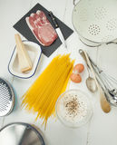 Spaghetti carbonara ingredients Royalty Free Stock Photography