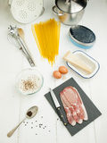 Spaghetti carbonara ingredients Royalty Free Stock Photos