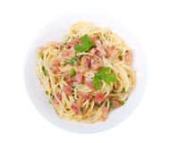 Spaghetti carbonara isolated Stock Photography