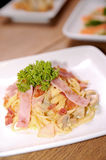Spaghetti carbonara, italian dish Royalty Free Stock Photography