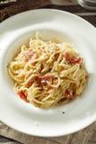 Spaghetti Carbonara - Italian Food. Plate of delicious spaghetti Carbonara. Italian food. - Stock image. Rustic styled royalty free stock photo
