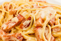 Spaghetti Carbonara made with eggs, bacon, cheese Stock Photography